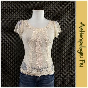 Anthro Lace Sequin Blouse by Fei